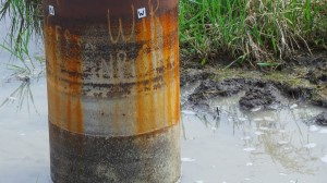 Aging utility pole exposed to corrosive water